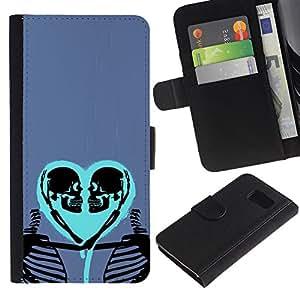 KLONGSHOP / Tirón de la caja Cartera de cuero con ranuras para tarjetas - Heart Love Skeleton Blue Purple Skull - Samsung Galaxy S6 SM-G920