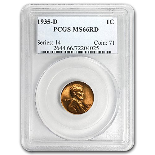 1935 D Lincoln Cent MS-66 PCGS (Red) Cent MS-66 PCGS