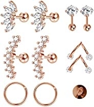JOERICA 3 Pairs Stainless Steel Silver Ear Cartilage Earrings for Women Girls Tragus Helix Earring Cute Conch