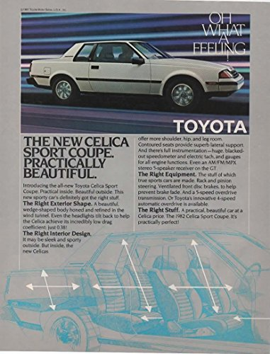 Magazine Print ad: 1982 Toyota Celica Sport Coupe, White, Practically Beautiful.The Right - Celica Coupe