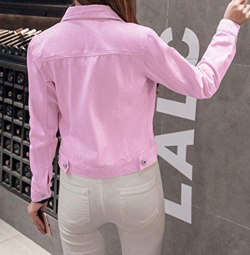 Coat Fit Cowboy Leisure Short Slim Women's Jacket Coat Pink Beeatree Solid Cardigan BOY6q