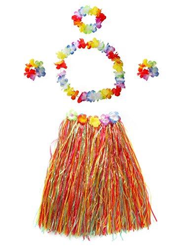 CISMARK Girl's Hawaiian Hula Grass Skirts (Multicolor 40cm ,5pcs/set)