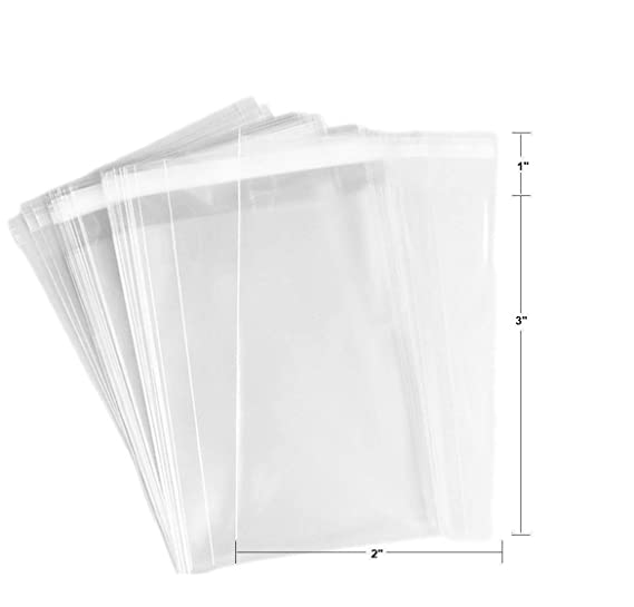 200ct Adhesive Treat Bags 2 x 3 Clear - 1.4 mils Thick Self Sealing OPP Plastic Bags/Clear Flat Resealable Cello/Cellophane Bags (2