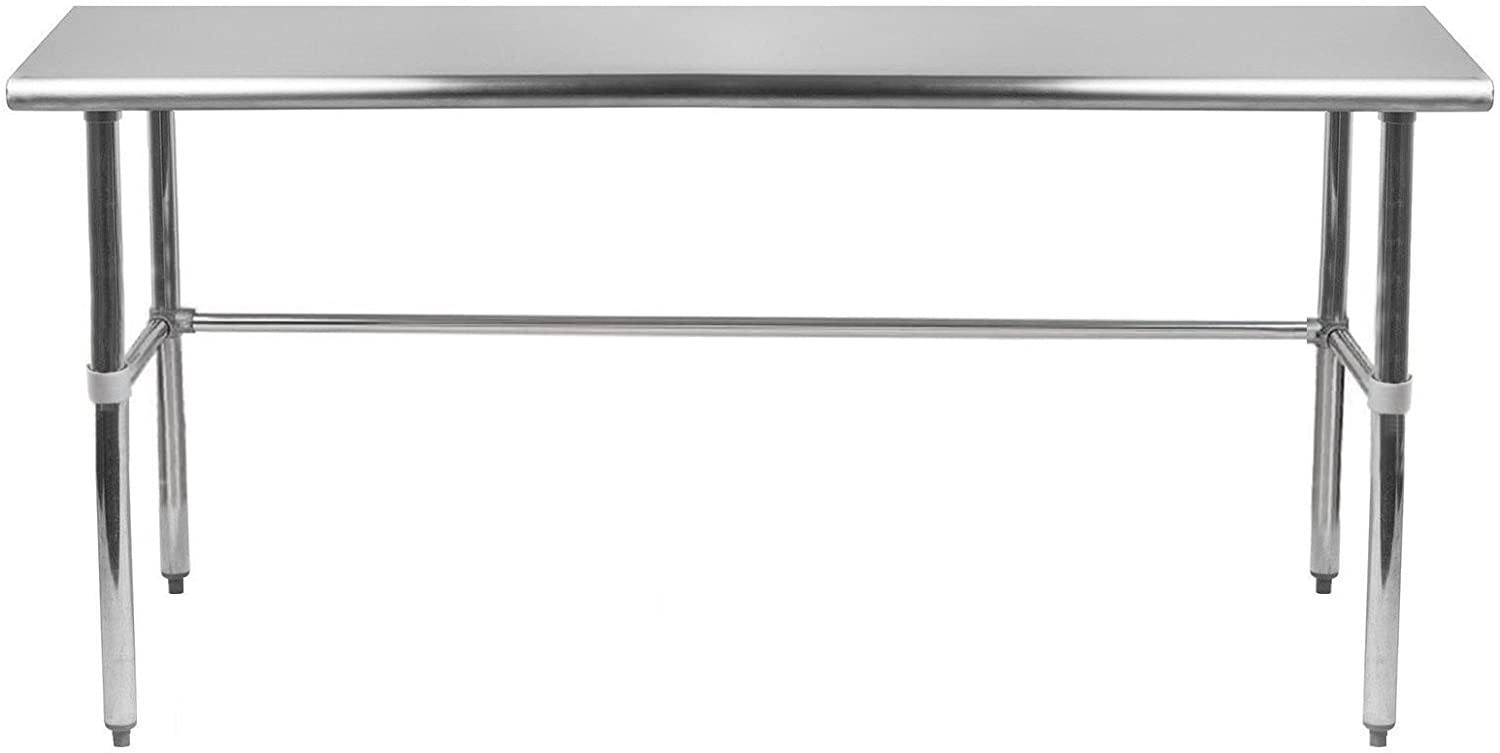 """AmGood Stainless Steel Work Table Open Base 