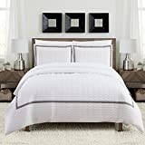 Chic Home Faige 3 Piece Duvet Cover Set Hotel Collection Two Tone Banded Print Zipper Closure Bedding - Decorative Pillow Shams Included Queen White