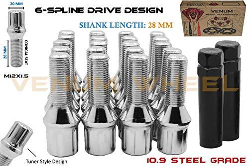 20 Pc Chrome Locking Spline Lug Bolts M12x1.5 + 2 Keys | 28 MM Factory Length | Compatible W/ BMW 128i 135i 318i 320i 325i 328i 335i M3 525i 528i ()