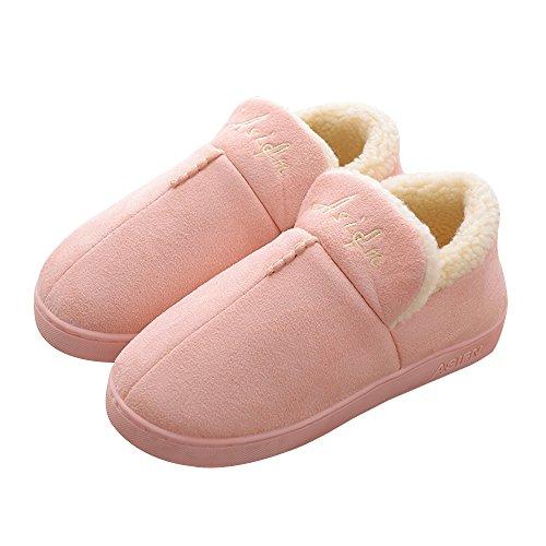En Antidérapante 3 Couleur Chaleur Chaussures Accueil Couple Unie Coton Femme Pantoufles Hiver YASHANG q6Txtw