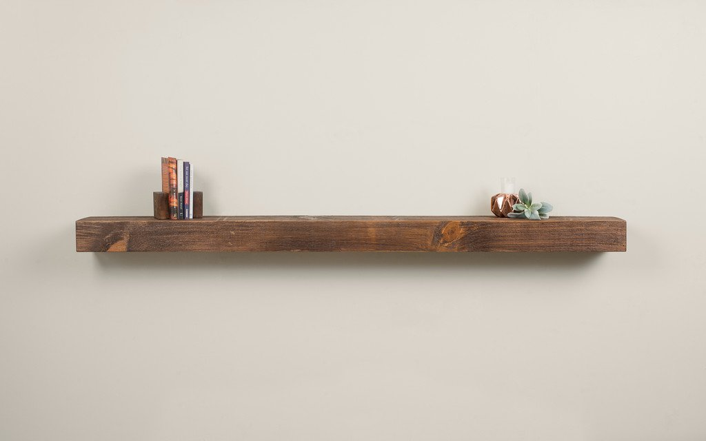 Vail 60-Inch Wood Fireplace Mantel Shelf, Rustic Provincial Mantels Direct
