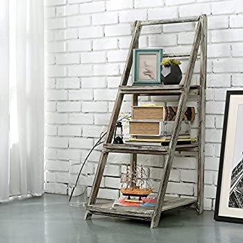 3 Tiered Rustic Torched Wood A-Frame Ladder Shelving Display Stand, Bookshelf Storage Rack