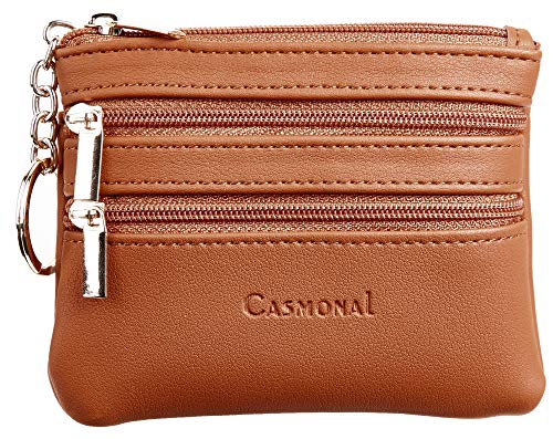 (Casmonal Womens Genuine Leather Coin Change Purse Pouch Slim Minimalist Front Pocket Wallet Key Ring (Tan))