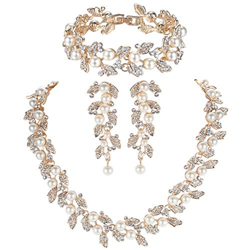 mecresh Simulated Pearl Leave Floral Bridal Jewelry Sets, Crystal Wedding Necklace Earrings Bracelet Sets Jewelry Engagement Gold