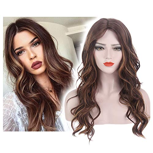 (STfantasy Natural Wave Brown Ombre Blonde Hair Wigs Long Curly for Women Everyday)