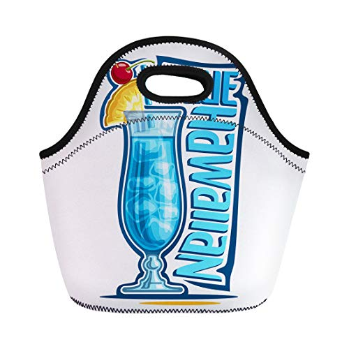 Semtomn Lunch Tote Bag Alcohol Cocktail Blue Hawaiian Fruit Garnish on Glass Reusable Neoprene Insulated Thermal Outdoor Picnic Lunchbox for Men Women