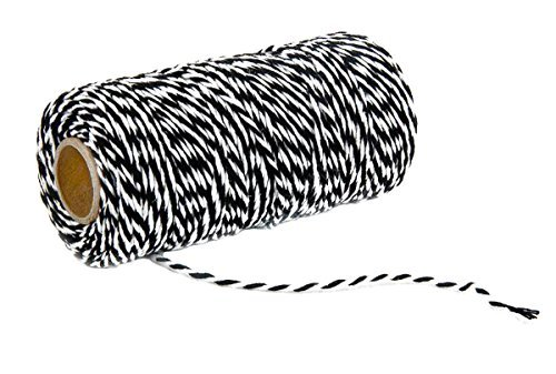 2 Roll Halloween Xmas Two-Color Combined Cotton Thread - 109 Yards/Roll - Hand Weave DIY Tag Fine Cotton Rope and Gift Wrapping Belt (Black + White)