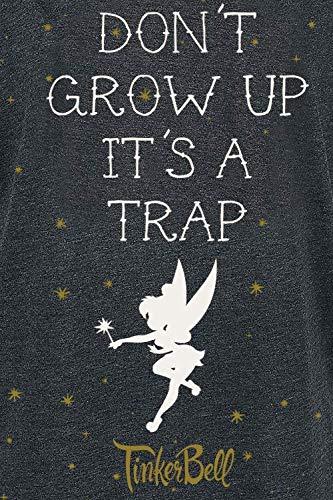 Peter Pan Tinker Bell Dont Grow Up T-Shirt Grigio Scuro