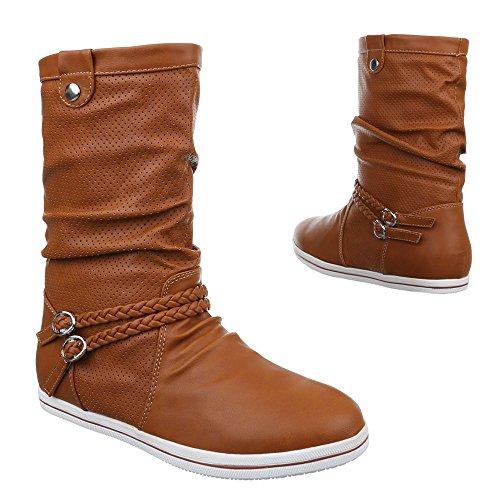 Ital-Design - botas clásicas Mujer Beige Camel