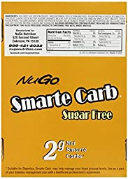 NuGo Smarte Carb Bar, Sugar free Peanut Butter Crunch, 1.76-Ounce Bars (Pack of 12)