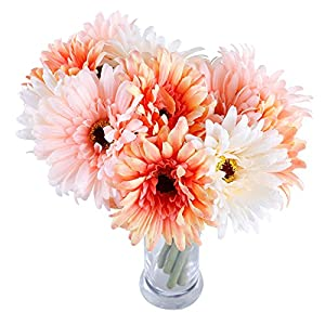6 pcs Artificial Daisy Bridal Flowers Bouquet Real Touch Silk Chrysanthemum Flowers Plastic Fake Sunflower Simulation Gerber Dimorphotheca for Wedding holiday Home Party Decor bridesmaid (Pink-White) 16