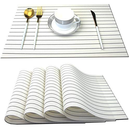 Bright Dream Placemats for Kitchen Table Heat Resistant Easy Clean Plastic Table Mats 12x18 inches Set of 4(White)