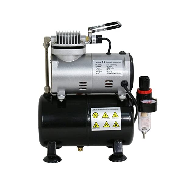 ZENY-Pro-15-HP-Airbrush-Air-Compressor-Airbrushing-Kit-w-3L-Tank-and-6FT-Hose-Multipurpose-for-Spraying-Cake-Decorating-Tattoo-Nail-Craft-Painting