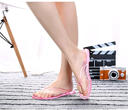 de pies de Color sandalias de verano flip antideslizante 39EU de black transparente de Zapatillas Transparent Red plano baño tamaño Transparent cristal de interior casa transparente YUNGUANG plástico flops aXvOx1