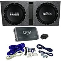 Hifonics 15 Ported Car Package - 2) BRZ15D4 Subwoofers, Mono Amp, Box & Wire