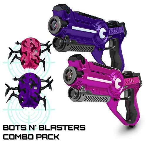 USA Toyz Laser Tag Multiplayer Games – Space Blaster Laser Tag Gun Set, Laser Tag Guns, Lazer Tag for Kids w/ Target Practice Bots (2pk Pink/Purple)