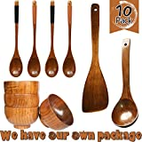 HIZBO MART 10 Piece Handmade Wooden Tableware Set