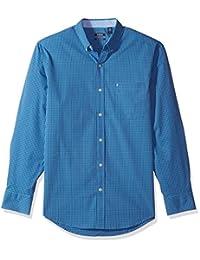 IZOD Camisa de Manga Larga elastizada a Cuadros para Hombre