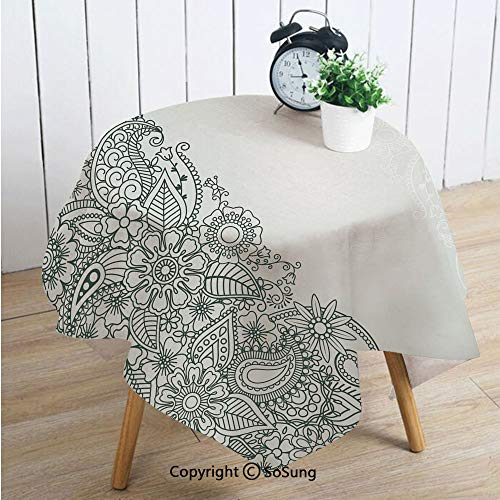 Henna Square Polyester Tablecloth,South Asian Body Paint Design