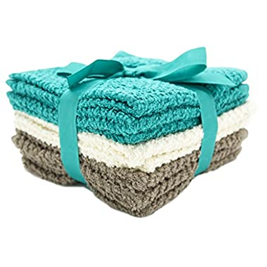 8 Pack Terry Popcorn Weave Wash Cloths (12x12 ) - Teal, Cream & Taupe