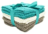Living Fashions Washcloths Set of 8 - Popcorn weave texture designed to exfoliate your hands, body or face - Extra Absorbent Ring Spun Cotton - Size 12'' X 12'' - Colors Teal, Cream & Taupe