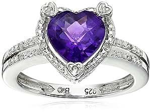 Heart Shape .03 cttw Diamonds in Silver Amethyst Ring, Size 6