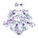 NUWFOR Infant Baby Girls Long Sleeve Floral Print Jumpsuit Romper+Headband Outfits (Purple,6-12Months