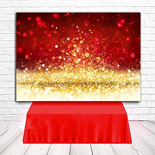 Red with Gold Spots Photography Backdrop (Not Glitter) Baby Photo Background Photo Booth Props 7x5FT ()