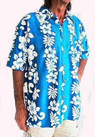 db3fa8f40 Double Duck Loud Hawaiian Shirt Turquoise Blue With White Hibiscus Flowers,  XXXXL 60