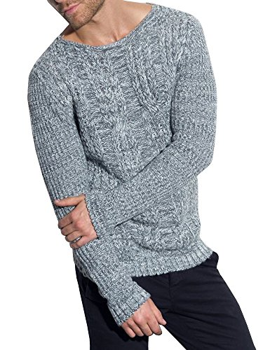 EastLife Mens Sweaters Crew Neck Long Sleeve Slim Fit Knitted Pullover Casual Sweater ()