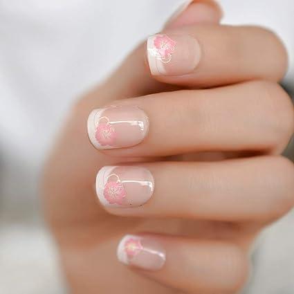 EchiQ uñas postizas de color blanco desnudo con flores rosadas y purpurina brillante para uñas,