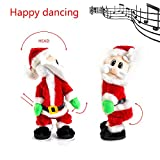 Cherry Juilt Christmas Electric Santa Claus Figure Twisted Wiggle Hip Twerking Singing Santa Doll Toys Fun Gift for Kids 14 Inch