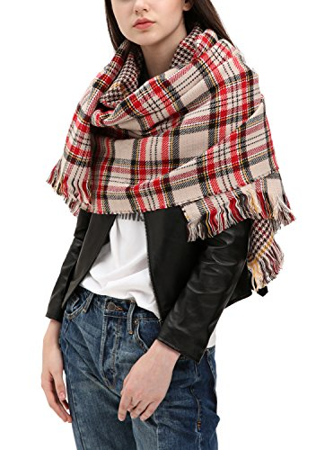 (Urban CoCo Women's Tartan Plaid Blanket Scarf Winter Checked Wrap Shawl (Series 3 beige))