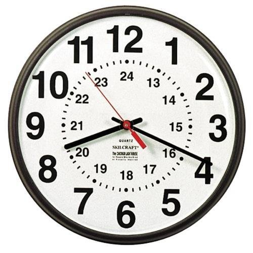 6645-01-342-8199 SKILCRAFT 12/24 Hour Wall Clock - Analog - Quartz