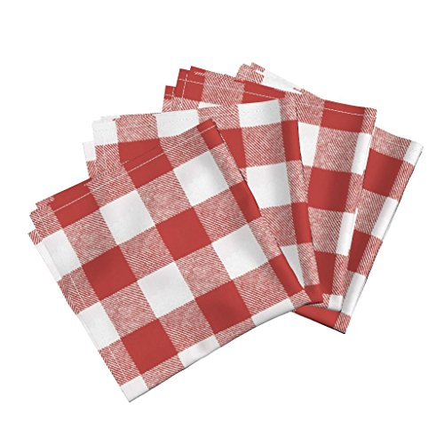 Roostery Gingham Check Picnic Red Buffalo Check Linen Cotton Dinner Napkins Buffalo Check Picnic Red by Willowlanetextiles Set of 4 Dinner Napkins