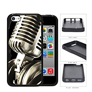 MMZ DIY PHONE CASEClassic Vintage Microphone And Headphones Rubber Silicone TPU Cell Phone Case Apple ipod touch 4