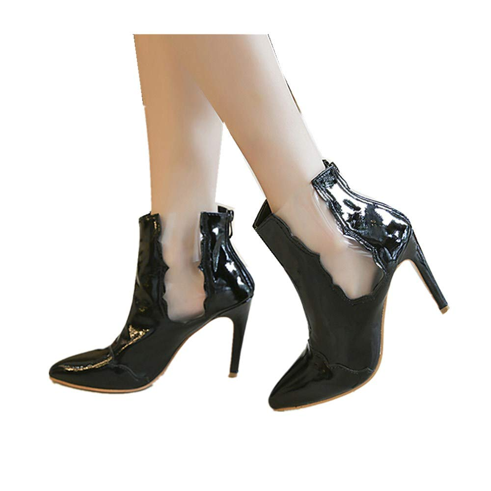 Women's Pointed Toe Stiletto High Heels Fashion Lucite Casual Dress Zipper Ankle Booties (Black, US:9.5-10)