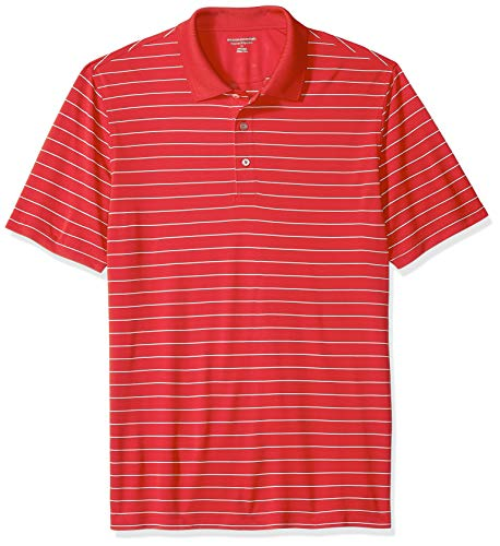 Amazon Essentials Men's Regular-Fit Quick-Dry Golf Polo Shirt, Red Stripe, X-Small ()