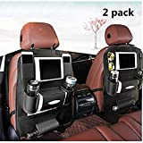 K&K Back seat car Organizer Backrest Protection Car Seat Organizer PU Leather - Protective Car Seat Back Organiser Kick Mats 7 Separate compartments (Double)
