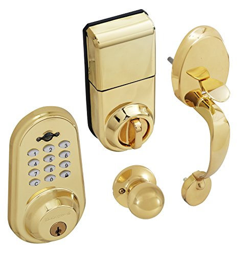 Honeywell 8632007 Digital Door Knob Handleset and Deadbolt Lock with Remote, Polished Brass