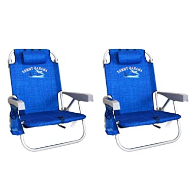 2 Tommy Bahama Backpack Cooler Chair with Storage Pouch and Towel Bar (Blue)