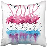 Starogs Throw Pillow Covers Print Pink Flock Flamingos Watercolor Painting Blue Nature Exotic Animal Sketch Splash Cartoon Hand Polyester 18 X 18 Inch Square Hidden Zipper Decorative Pillowcase