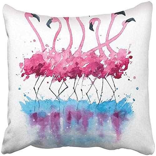 Starogs Throw Pillow Covers Print Pink Flock Flamingos Watercolor Painting Blue Nature Exotic Animal Sketch Splash Cartoon Hand Polyester 18 X 18 Inch Square Hidden Zipper Decorative Pillowcase by Starogs
